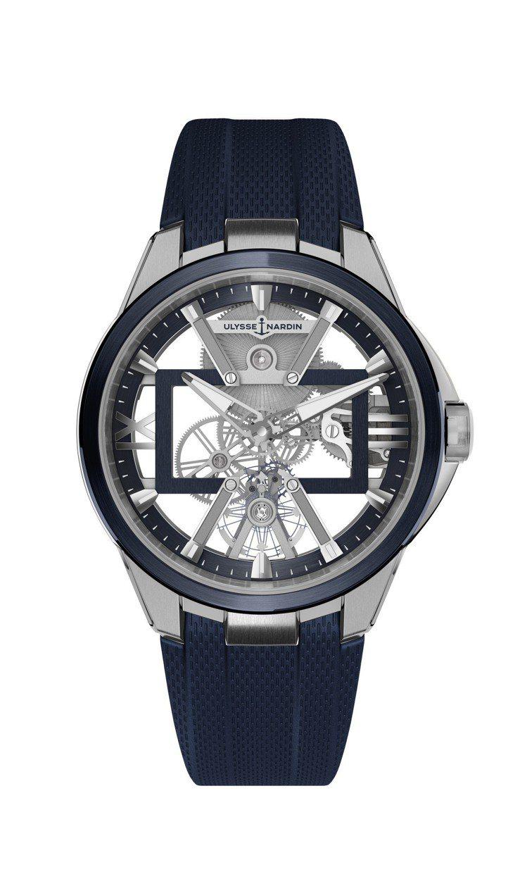 雅典表經理人SKELETON X鏤空腕表藍色鈦金屬款,52萬8,000元。圖/雅...