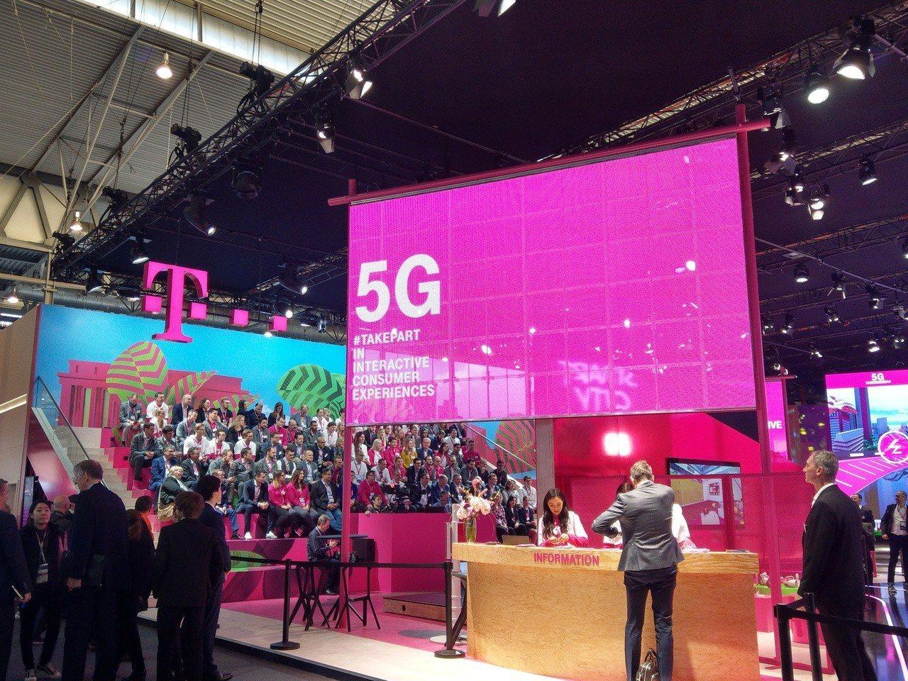 電信業者擁抱5G,圖為T-Mobile的MWC展區。記者鐘惠玲/攝影