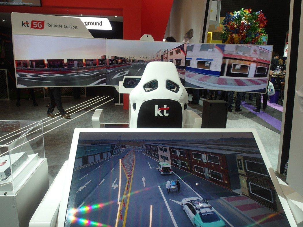 韓國電信在MWC會場展示多項5G產業應用平台,圖為5G駕駛員座艙監控系統。  記...