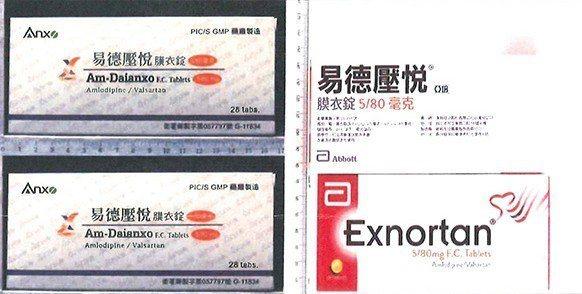 亞培台灣分公司委託台灣業者製造的易德壓悅膜衣錠5/80毫克,也含有問題原料藥。圖...