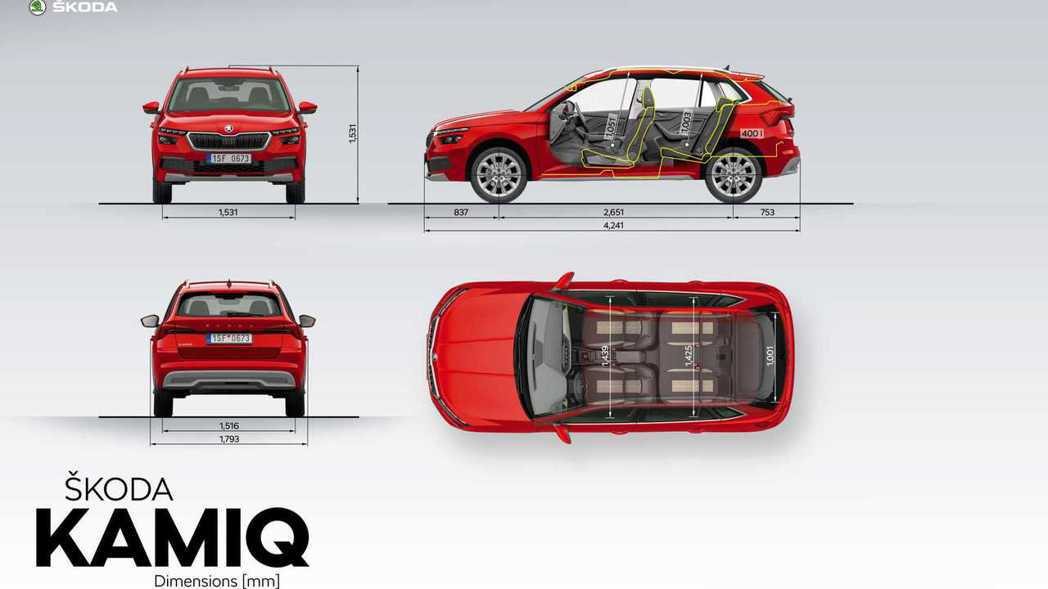 ŠKODA Kamiq搭載MQB A0模組化底盤,軸距達2,651mm,讓其擁有相對舒適的乘坐與收納空間。 摘自ŠKODA