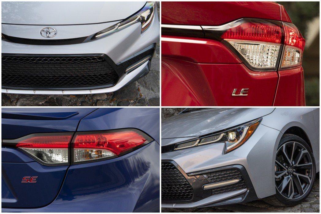 美規Corolla Sedan共分為七種車型、三種動力選擇,1.8升、2.0升與1.8Hybrid車型的外觀上,皆有著小幅度的差異。 摘自Toyota