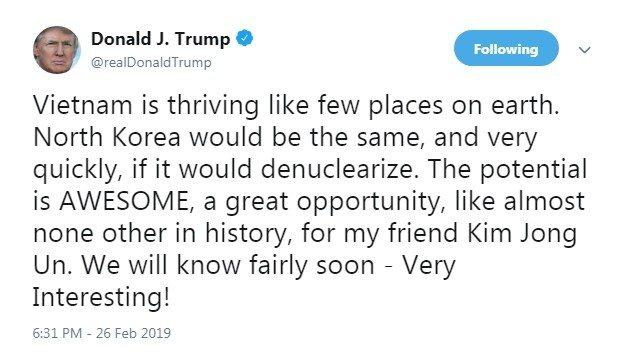 川普27日早上推文向北韓領導人金正恩喊話:若北韓能實現去核化,將和越南一樣繁榮興...
