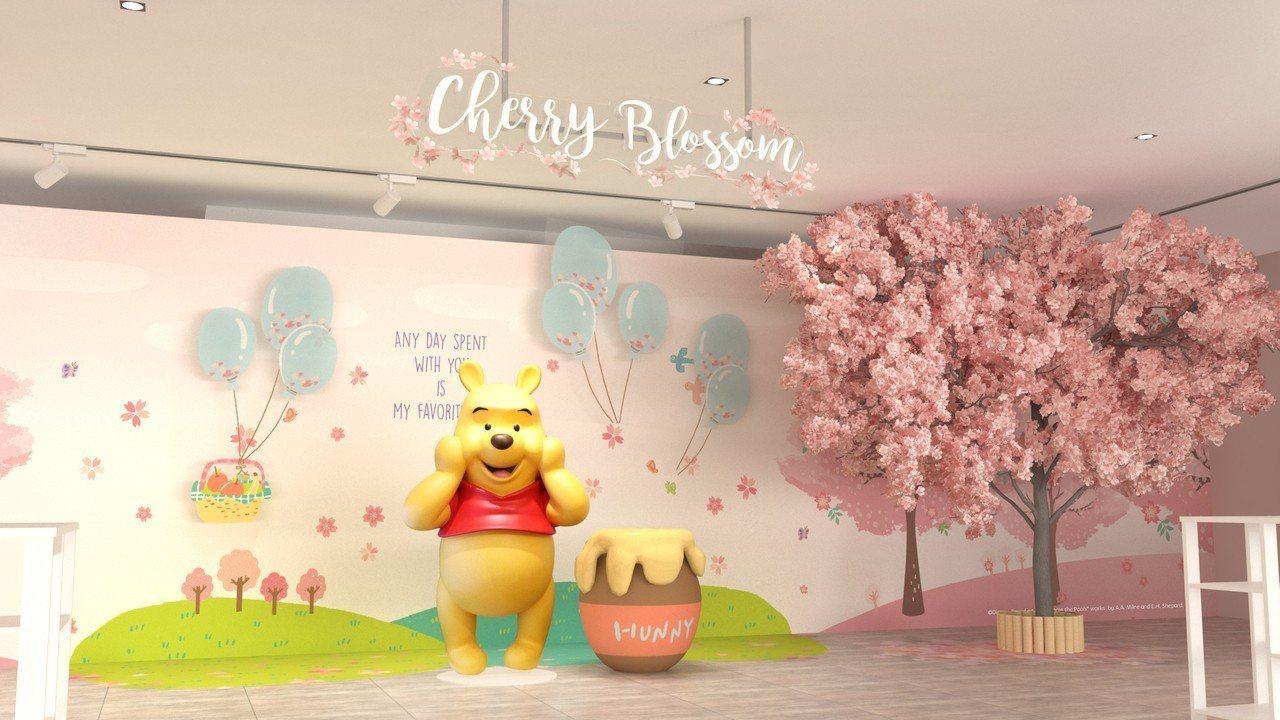 新光三越台中中港店,小熊維尼與櫻花樹場景。圖/台灣迪士尼提供