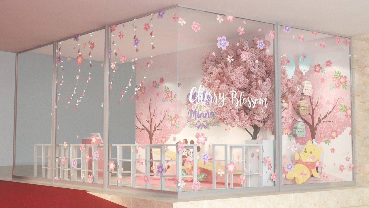 新光三越台北南西店,米奇米妮櫻花樹蹺蹺板拍照區。圖/台灣迪士尼提供