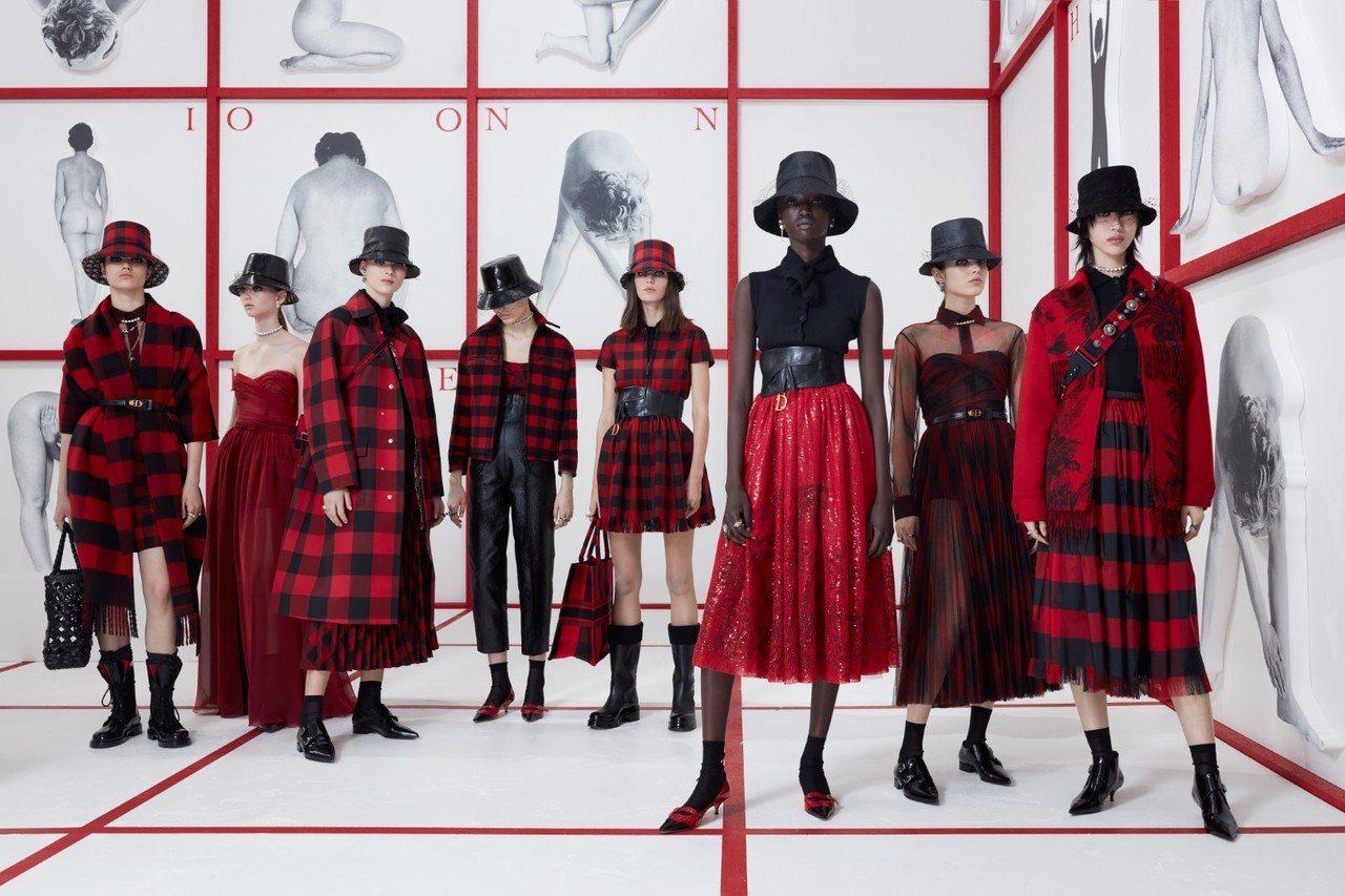 Dior秋冬時裝系列,以戰後50年代的英國泰迪女孩次文化現象為靈感。圖/Dior...
