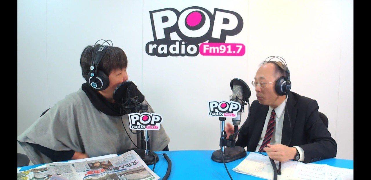 故宮院長吳密察接受POP Radio《Pop搶先爆》主持人黃光芹專訪 。圖片翻攝...