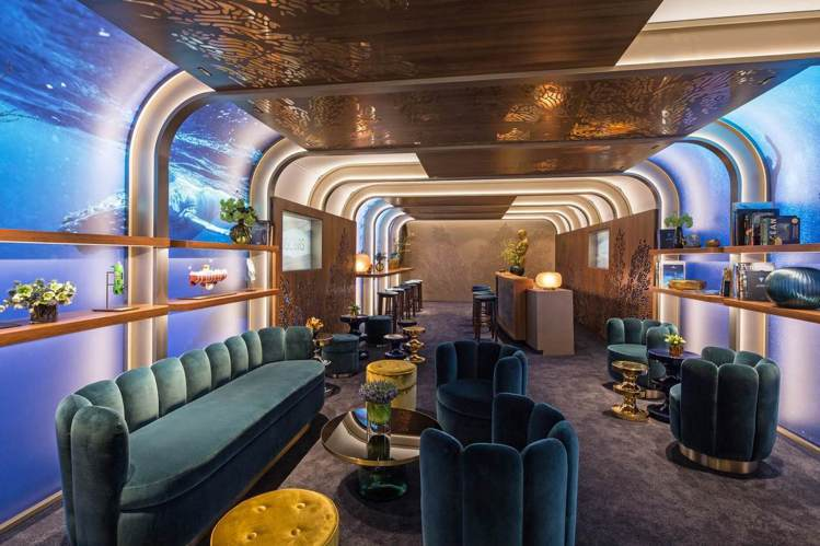 2019年綠坊休息室(Greenroom),由勞力士主持及設計,以海洋為主題。圖...