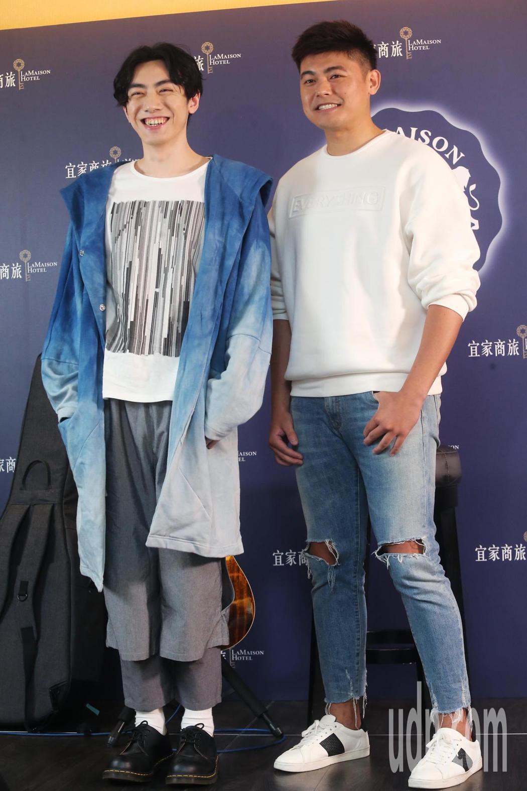 李友廷(左)與正皓玄(右)出席宜家商旅春酒宴總彩排。記者徐兆玄/攝影