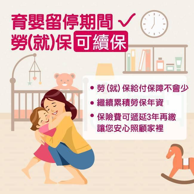 勞動部今在臉書發文提醒職場爸媽,育嬰留停期間,勞(就)保可續保。圖/擷取自勞動部...