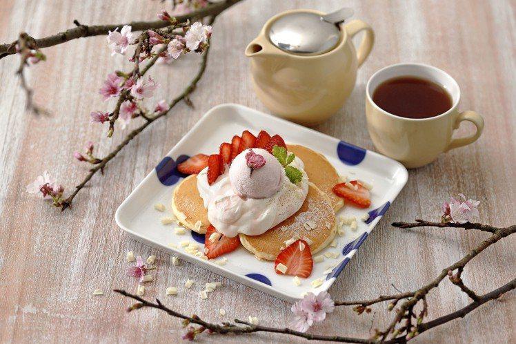 春·櫻花冰淇淋鬆餅,售價350元(附160元飲品一杯)。圖/杏桃鬆餅屋提供