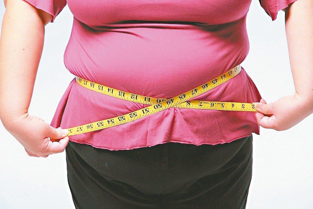 國健署提醒,女性腰圍超過80公分,就是腰圍過粗,小腹突出暗藏內臟脂肪超標風險。圖...