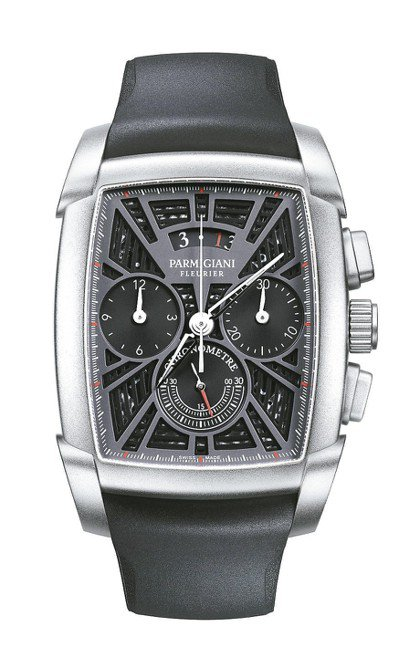 帕瑪強尼Kalpagraphe計時碼表,鈦金屬表殼,約125萬5,000元。 圖...