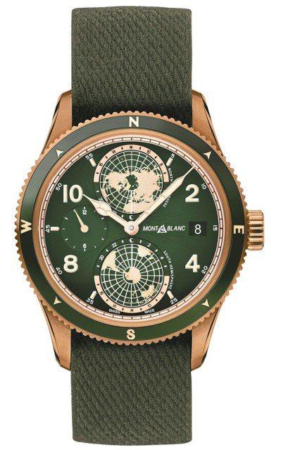 萬寶龍1858系列自製機芯追針計時兩地時間腕表,青銅表殼,限量100只,約114...
