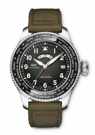 IWC噴火戰機飛行員世界時區特別版表,不鏽鋼表殼,限量250只,約41萬7,00...