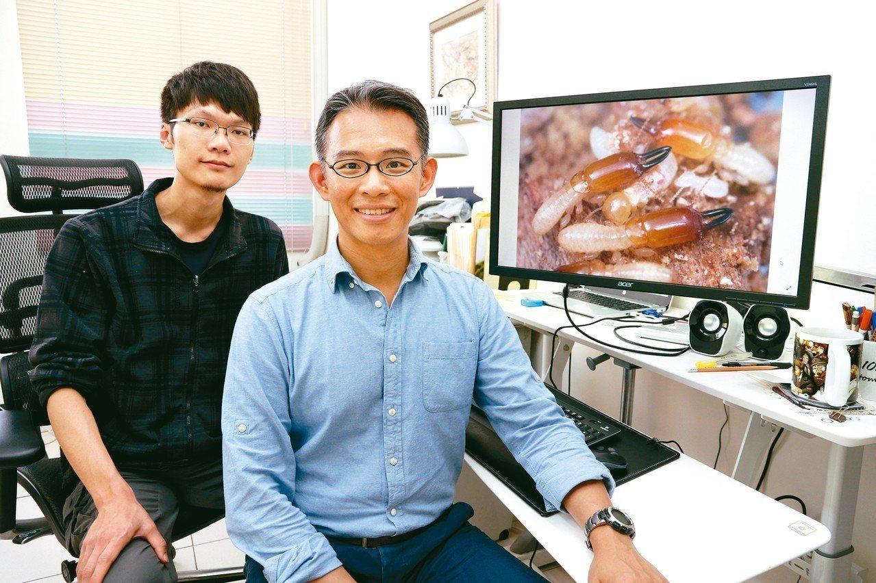 中興大學昆蟲系副教授李後鋒(右)與博士生梁維仁(左)發現全新白蟻物種,並命名為「...