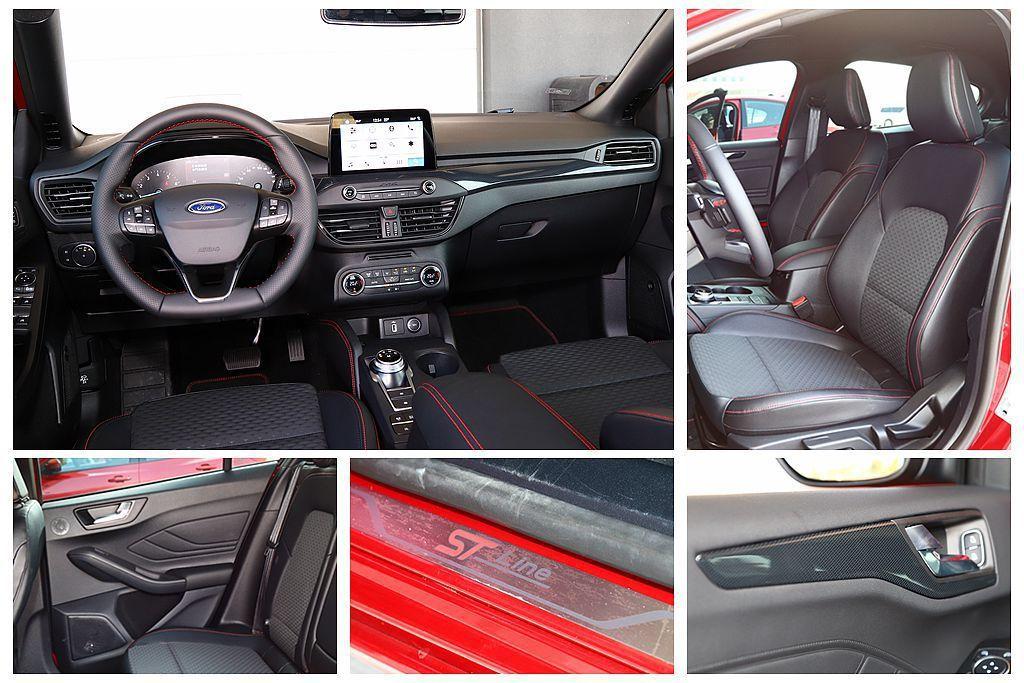 Ford Focus ST-Line採用運動化平底真皮多功能方向盤、專屬運動跑車座椅以及配類碳纖維紋路飾板等套件。但後座椅內車門塑料味太重的問題,在ST-Line車型上依舊沒有改善。 記者張振群/攝影