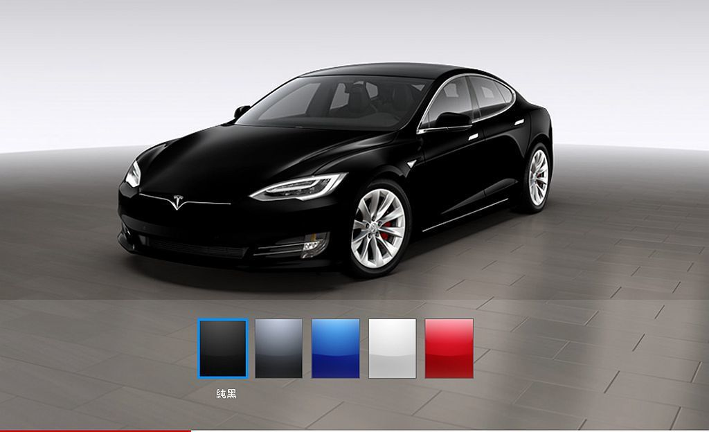 想用最便宜的價格購入Tesla Model S就只能選擇黑色,因為其他車色都需要加錢, 圖/Tesla網站擷取