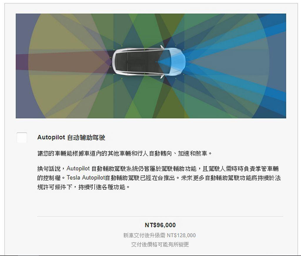 Autopilot自動輔助駕駛系統當然要選配,金額為9.6萬台幣。 圖/Tesla網站擷取