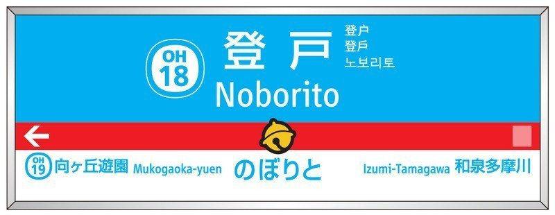 登戶車站站名看板改成哆啦A夢的藍、白色,還有招牌的鈴噹。圖/小田急電鐵株式會社(...
