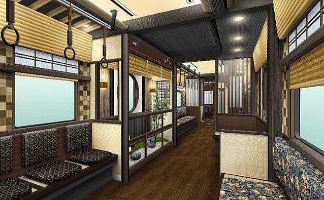 在2號、5號車廂,設置有「坪庭」的設計。圖/取自阪急電鐵官網