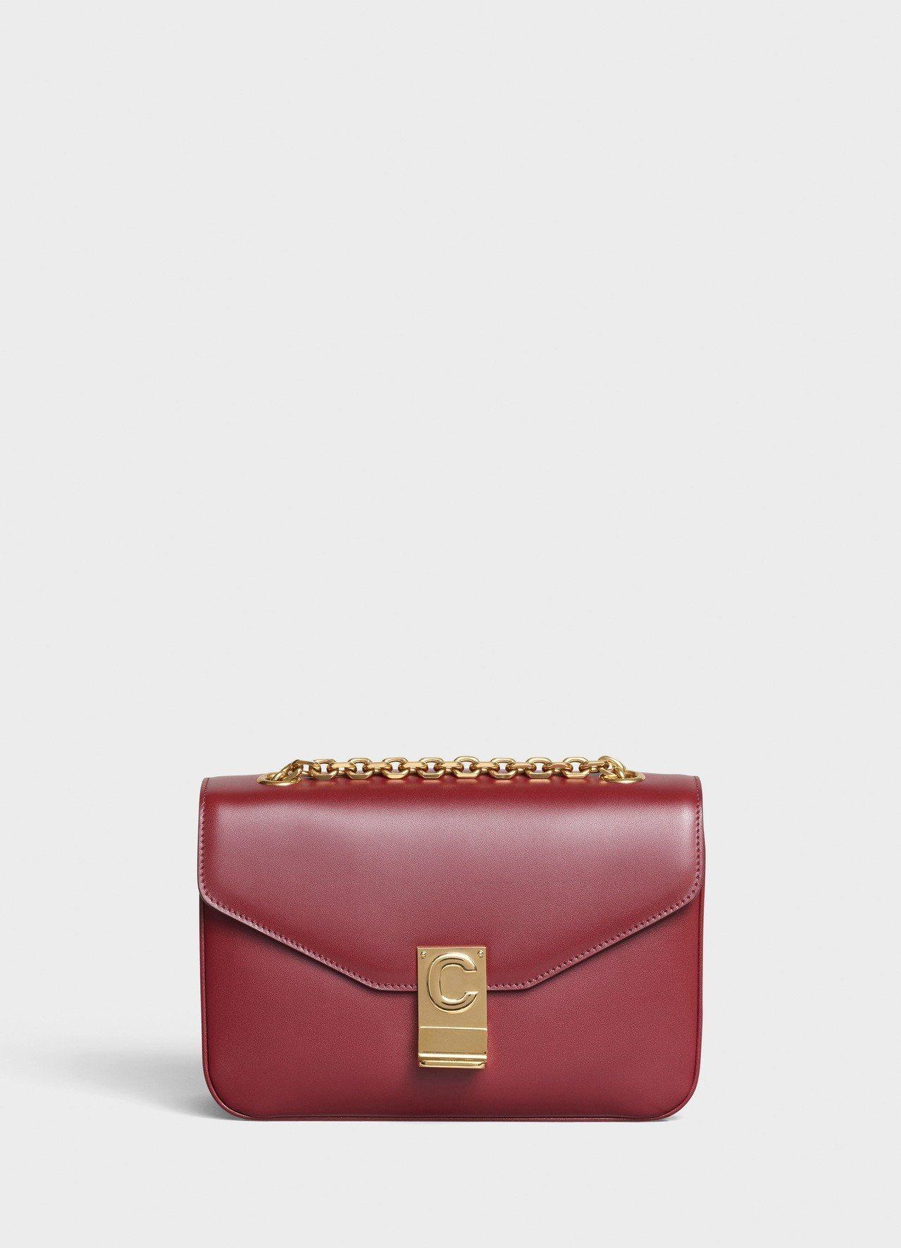 C Bag淡酒紅光滑小牛皮中型鍊帶包,售價99,000元。圖/CELINE BY...