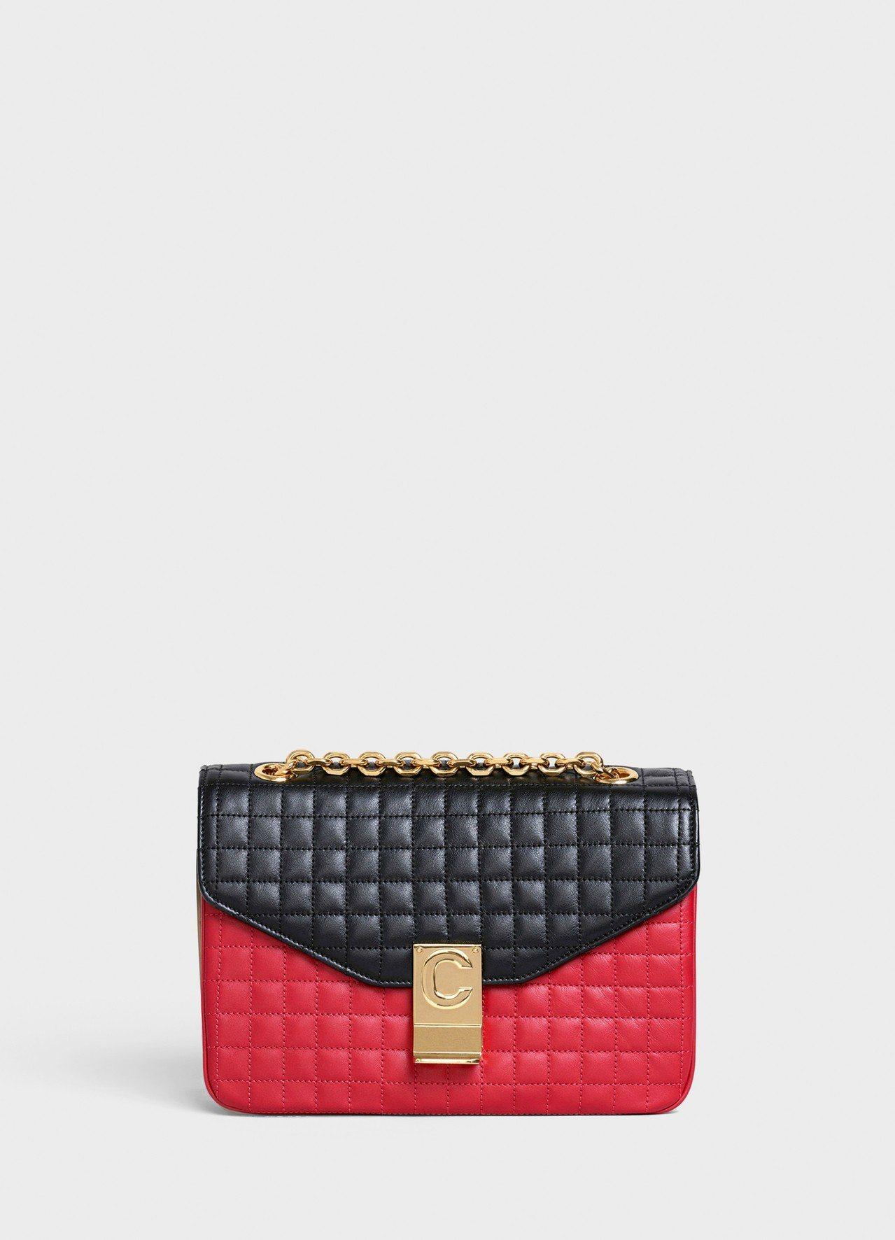 C Bag紅黑拼色格紋襯芯小牛皮中型鍊帶包,售價99,000元。圖/取自celi...