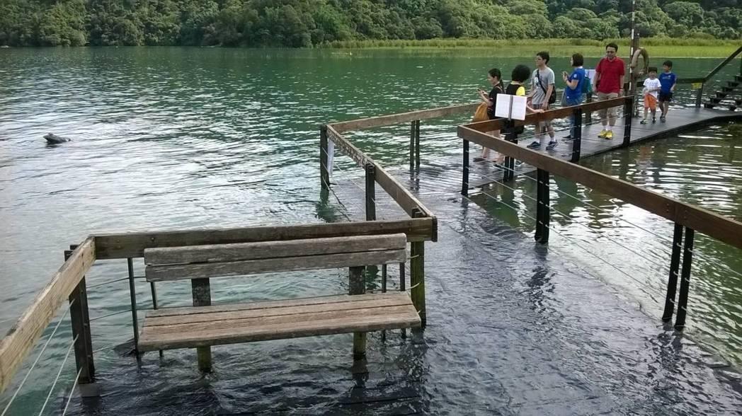 日月潭九蛙疊像是民眾觀測水情的指標,水位高時曾只剩單蛙探出水面。  圖/聯合報...