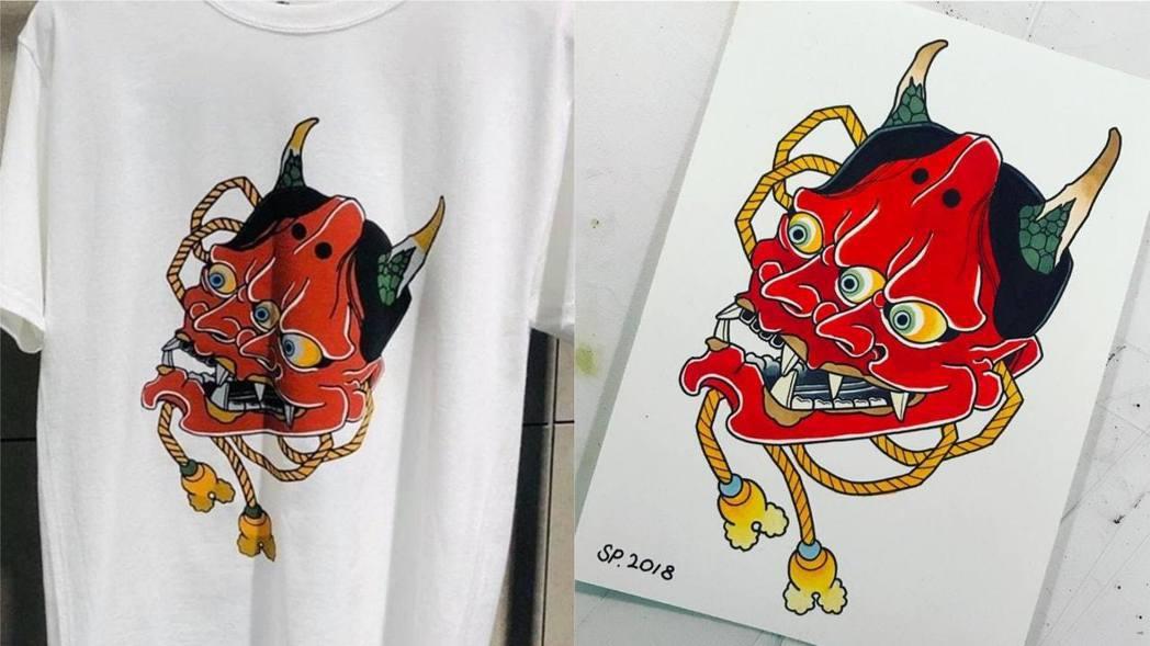 左圖為CLOT印花Tee,右圖為作者的畫作。(IG圖片)