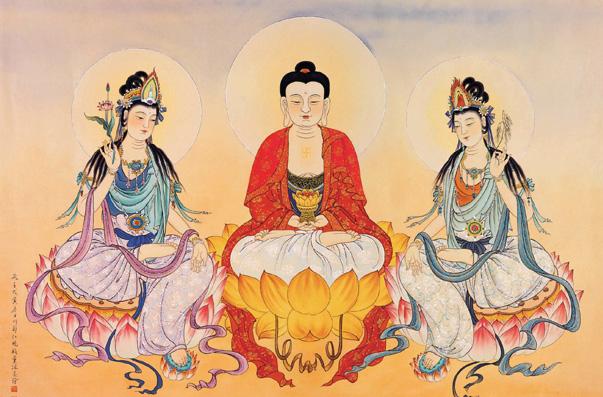 阿彌陀佛(教主);觀世音菩薩(左脅),冠冕上有阿彌陀佛的神像;大勢至菩薩(右脅)...