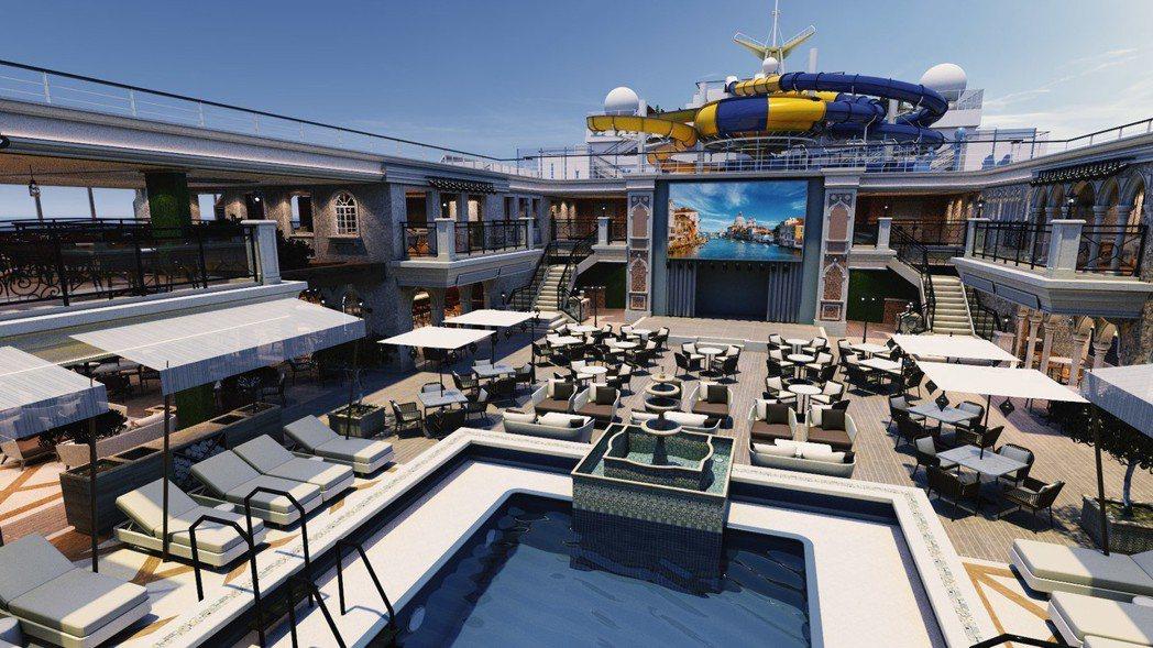 歌詩達郵輪威尼斯號麗都陽光游泳池。 圖/業者提供