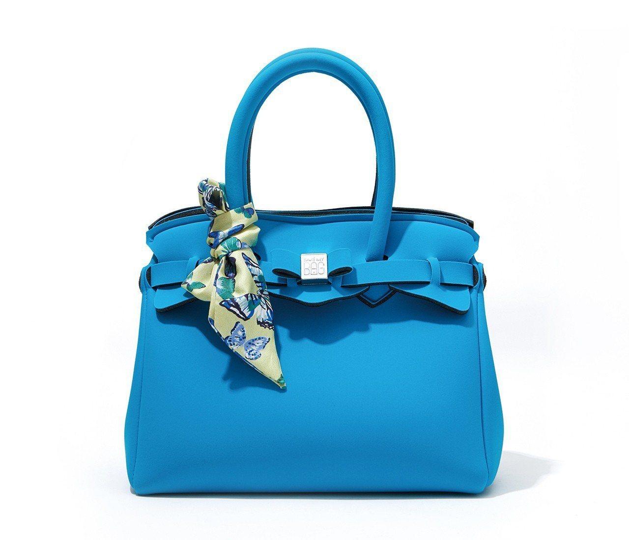 Save My Bag藍色手提包(含絲巾) 5,180元。圖/新光三越提供