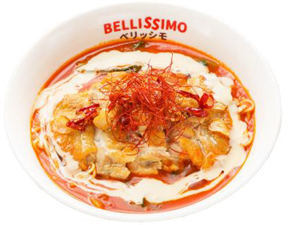 Bellissimo快閃店,蕃茄雞排起司拉麵320元。圖/統一時代提供