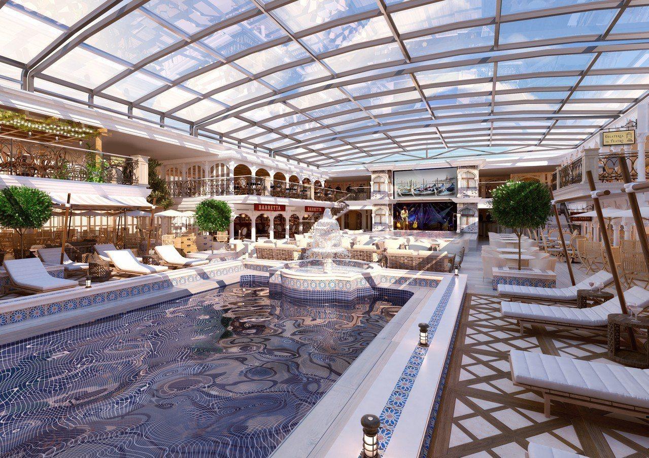 歌詩達郵輪威尼斯號麗都陽光游泳池。圖/雄獅旅遊提供