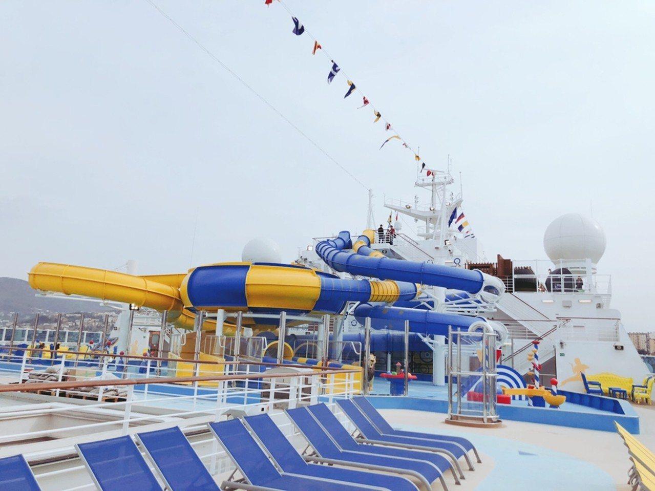 歌詩達威尼斯號Venezia的拉古那水上樂園適合親子同樂。圖/雄獅旅遊提供