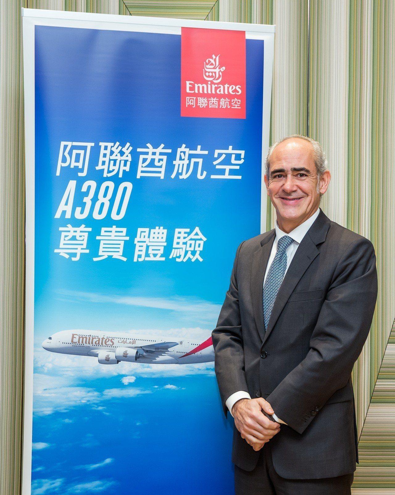 阿聯酋航空香港、廣州及台灣副總裁高豐年來台。圖/阿聯酋航空提供
