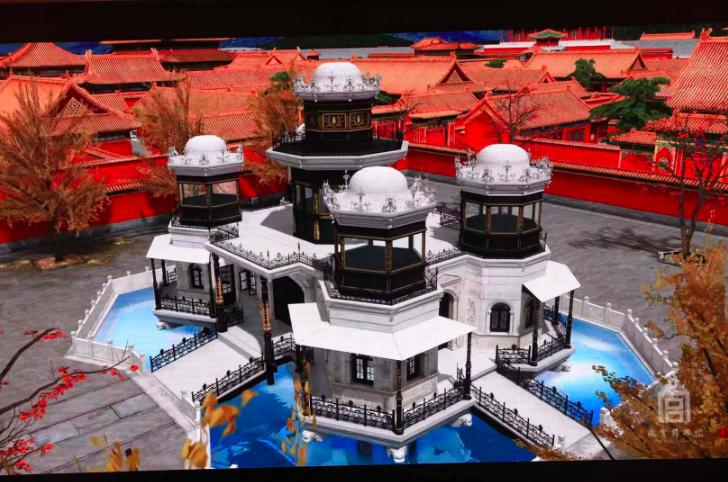 中國最早的「水族館」延禧宮靈沼軒效果圖。圖/翻攝自新京報