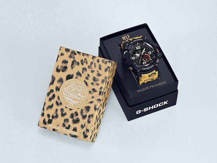 GG-1000WLP腕表的特殊外包裝,同樣融入豹紋設計。圖/Casio提供