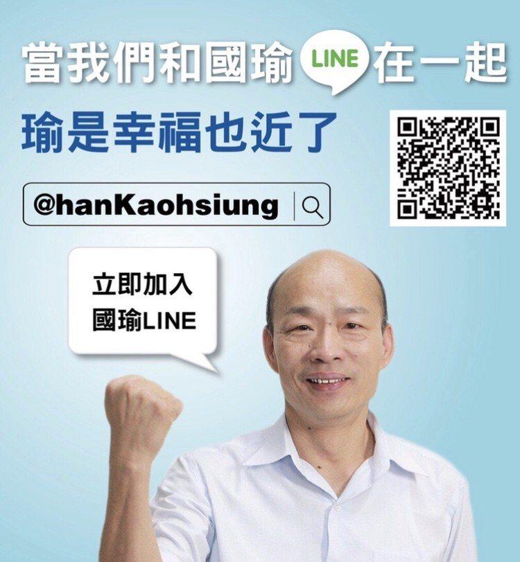 高市長韓國瑜今透過官方LINE澄清自己並沒有感冒。圖/取自韓國瑜官方LINE