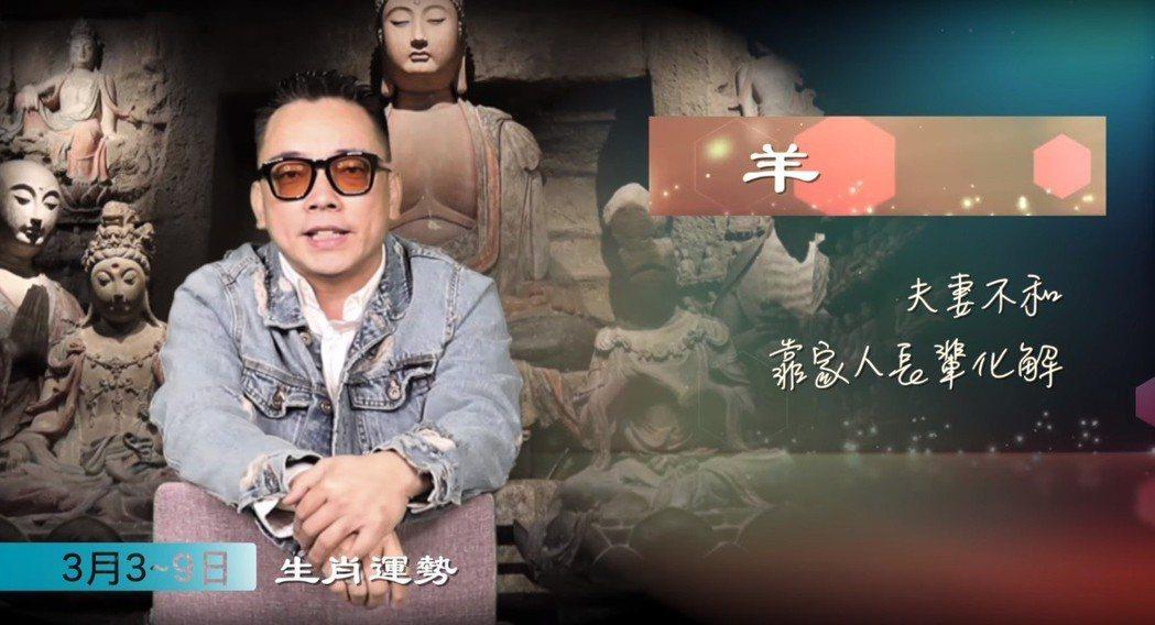 命理大師詹惟中分析3月3日~3月9日生肖運勢。圖/擷自YouTube