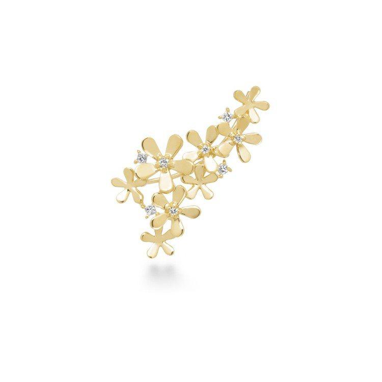 AHKAH Fleur Brillant系列單耳式耳環,黃K金與鑽石,約37,6...