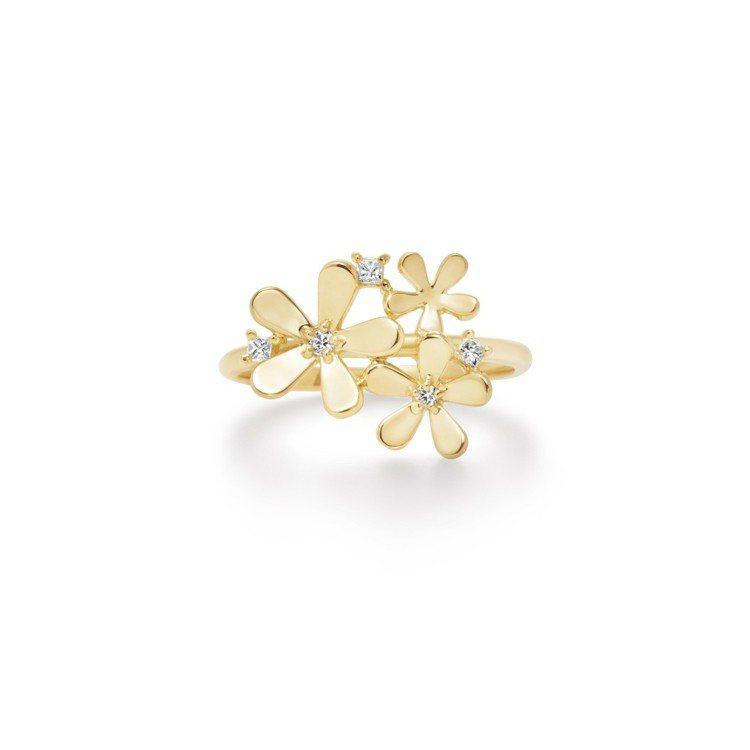 AHKAH Fleur Brillant系列戒指,黃K金與鑽石,約28,500元...