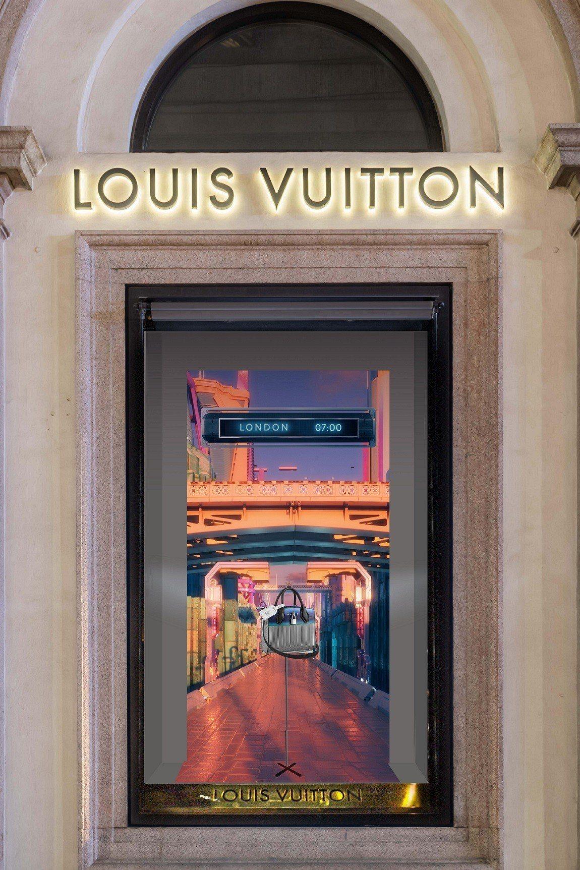 LV女裝春夏系列櫥窗,呈現宮廷貴族的穿搭細節到科幻太空船的圖像,傳遞藝術總監的奇...