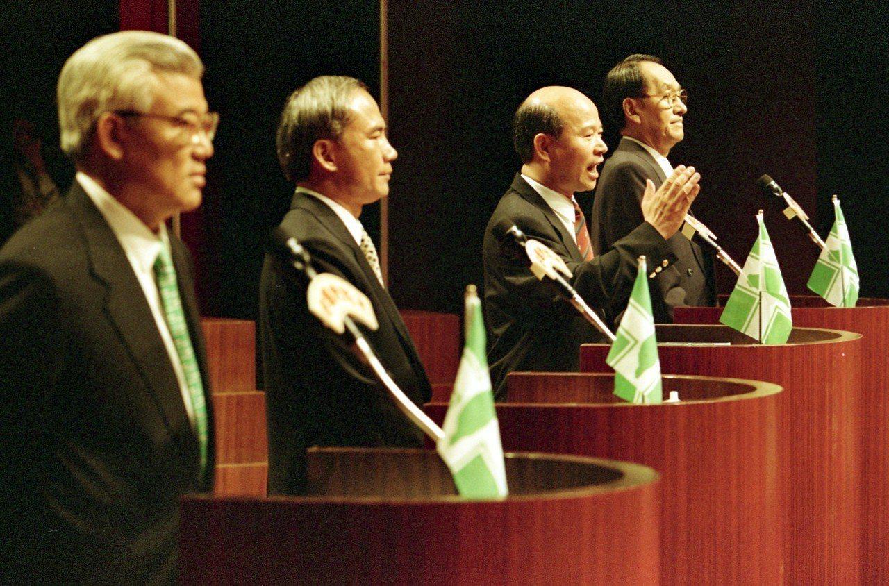 民進黨大老尤清(左起)、林義雄、許信良、彭明敏,當年競選黨內候選人初選時的歷史鏡...