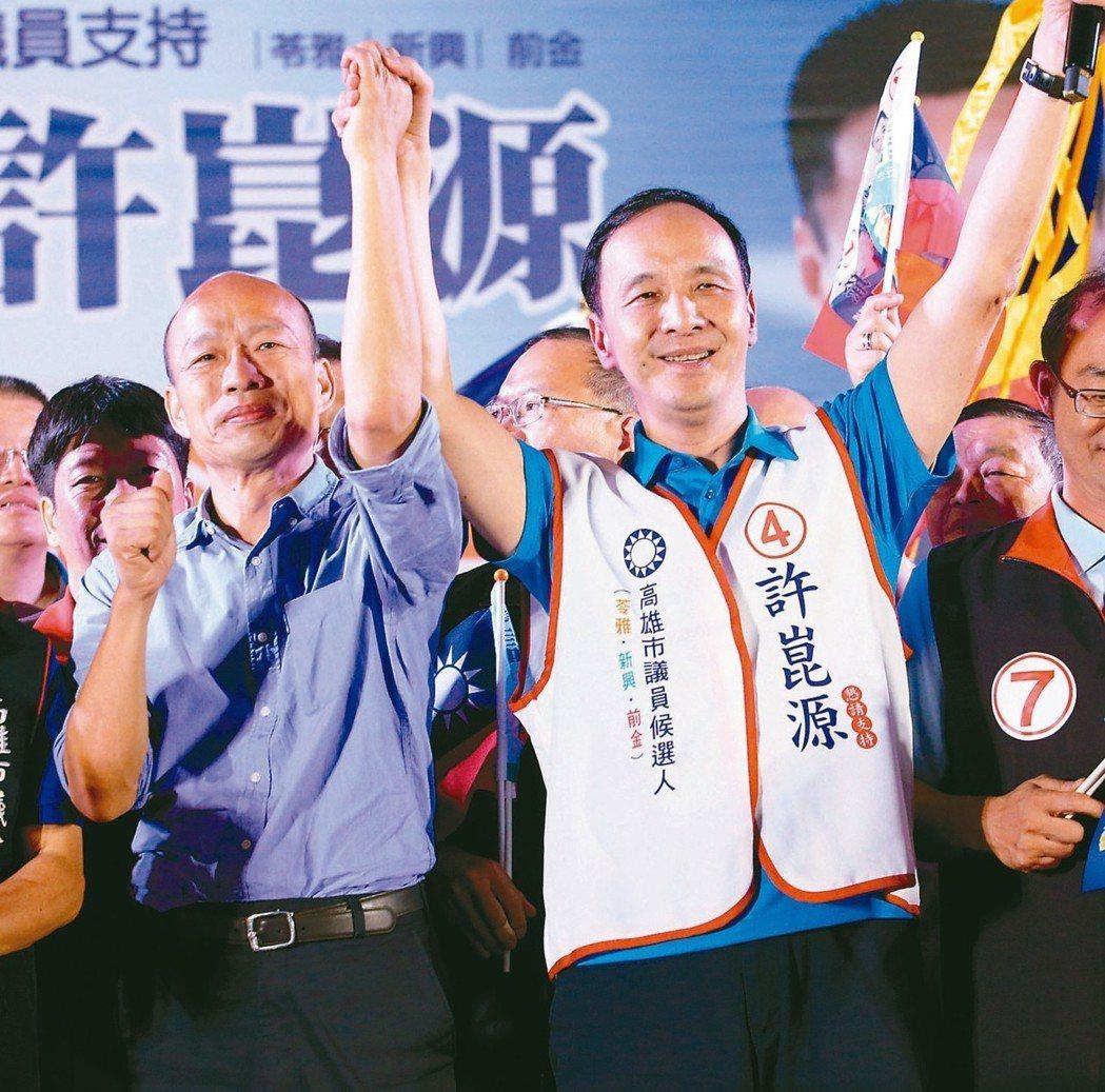 新北市前市長朱立倫(右)下午拜訪高雄市長韓國瑜,2020總統大選日近,韓國瑜要幫...