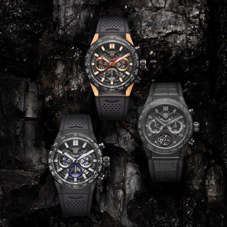 泰格豪雅推出全系列鍛造碳系列腕表,要讓消費者感受新穎材質的特殊。 圖/TAG...