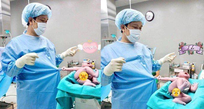 越南一家醫院產房日前出現有趣的一幕,醫生接生完正要離開,甫出生不久的新生兒哇哇大...