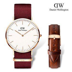 DW Daniel Wellington 經典時尚優質腕錶-紅色帆布+金殼 圖片...