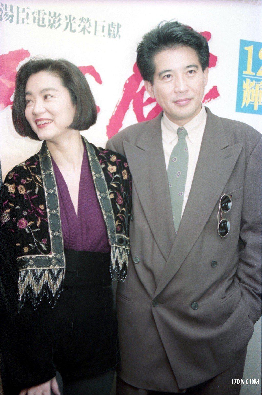電影「滾滾紅塵」演員1990年12月5日宣傳活動,演員(左起)林青霞、秦漢。圖/...