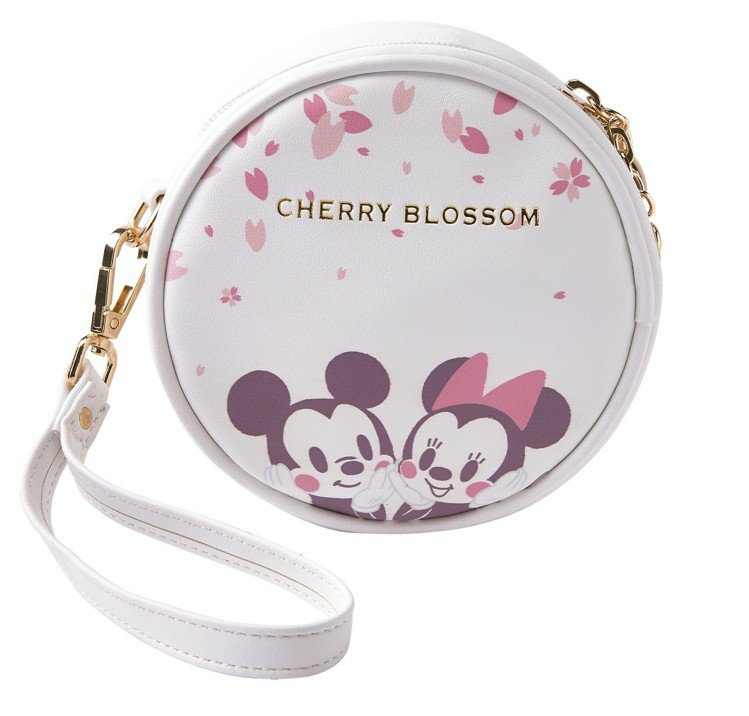 迪士尼櫻花季化妝包-米奇米妮款,售價390元。圖/7-ELEVEN提供